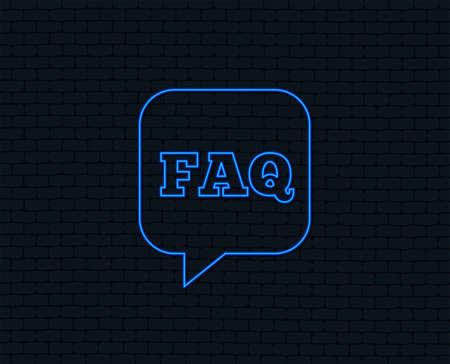 Illustration pour Neon light. FAQ information sign icon. Help speech bubble symbol. Glowing graphic design. Brick wall. Vector - image libre de droit