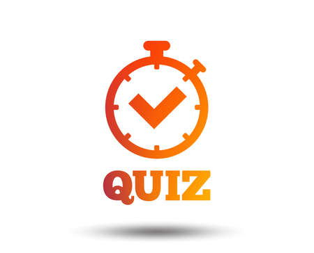 Illustration pour Quiz timer sign icon. Questions and answers game symbol. Blurred gradient design element. Vivid graphic flat icon. Vector - image libre de droit