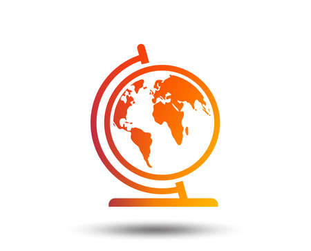 Illustration pour Globe sign icon. World map geography symbol. Globe on stand for studying. Blurred gradient design element. Vivid graphic flat icon. Vector - image libre de droit