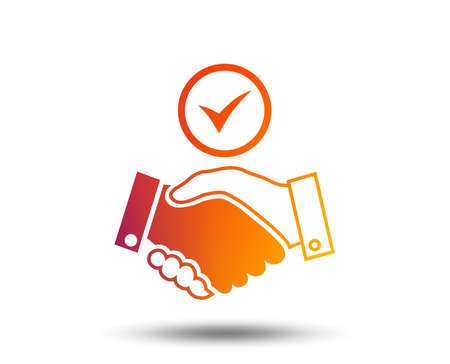 Illustration pour Tick handshake sign icon. Successful business with check mark symbol. Blurred gradient design element. Vivid graphic flat icon. Vector - image libre de droit