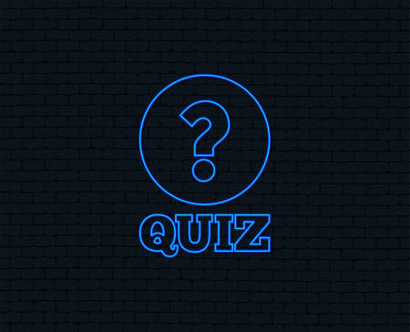 Illustration pour Neon light. Quiz with question mark sign icon. Questions and answers game symbol. Glowing graphic design. Brick wall. Vector - image libre de droit