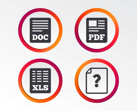 Illustration pour File document and question icons. XLS, PDF and DOC file symbols. Download or save doc signs. Infographic design buttons. Circle templates. Vector - image libre de droit