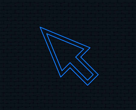 Illustration pour Neon light. Mouse cursor sign icon. Pointer symbol. Glowing graphic design. Brick wall. Vector - image libre de droit