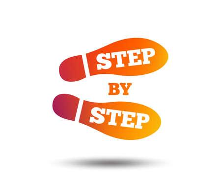 Ilustración de Step by step sign icon. Footprint shoes symbol. Blurred gradient design element. Vivid graphic flat icon. Vector - Imagen libre de derechos