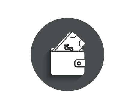 Ilustración de Wallet with Cash money simple icon. Dollar currency sign. Payment method symbol. Circle flat button with shadow. Vector - Imagen libre de derechos