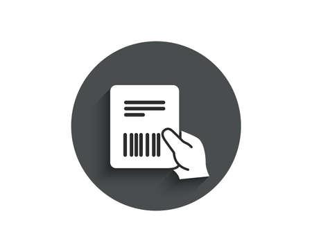 Ilustración de Parcel invoice simple icon. Delivery document sign. Package shipping symbol. Circle flat button with shadow. Vector - Imagen libre de derechos
