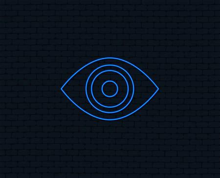 Illustration pour Neon light. Eye sign icon. Publish content button. Visibility. Glowing graphic design. Brick wall. Vector - image libre de droit