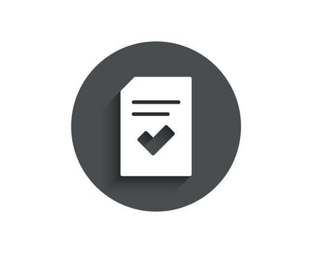 Illustration pour Checked Document simple icon. Information File with Check sign. Correct Paper page concept symbol. Circle flat button with shadow. Vector - image libre de droit