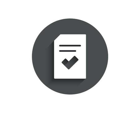 Ilustración de Checked Document simple icon. Information File with Check sign. Correct Paper page concept symbol. Circle flat button with shadow. Vector - Imagen libre de derechos