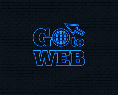 Illustration pour Neon light. Go to Web icon. Globe with mouse cursor sign. Internet access symbol. Glowing graphic design. Brick wall. Vector - image libre de droit
