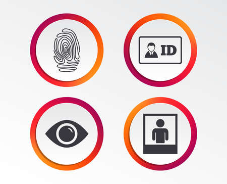 Ilustración de Identity ID card badge icons. Eye and fingerprint symbols. Authentication signs. Photo frame with human person. Infographic design buttons. Circle templates. Vector - Imagen libre de derechos