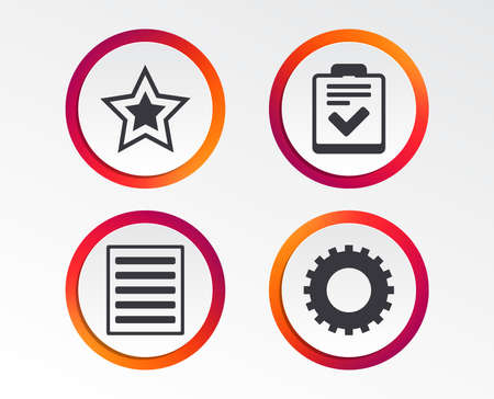 Illustration pour Star favorite and menu list icons. Checklist and cogwheel gear sign symbols. Infographic design buttons. Circle templates. Vector - image libre de droit