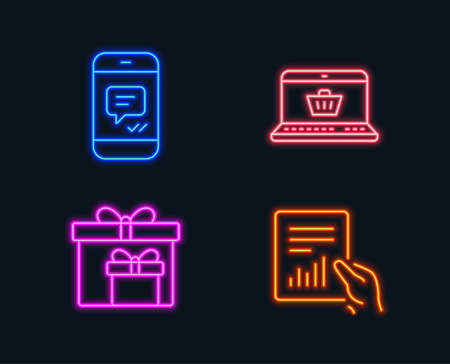 Illustration for Neon lights. Set of Online shopping, Delivery boxes and Message icons. Document sign. Notebook with shopping cart, Birthday gifts, Phone messenger. File with diagram.  Glowing graphic designs. Vector - Royalty Free Image