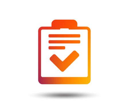 Illustration pour Checklist sign icon. Control list symbol. Survey poll or questionnaire feedback form. Blurred gradient design element. Vivid graphic flat icon. Vector - image libre de droit