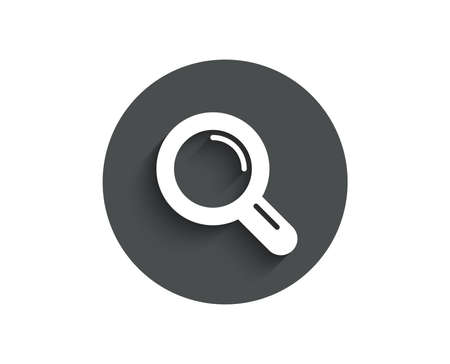 Illustration pour Research simple icon. Magnifying glass symbol. Magnifier sign. Circle flat button with shadow. Vector - image libre de droit