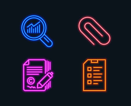 Illustration pour Neon lights. Set of Paper clip, Copywriting and Data analysis icons. Checklist sign. Attach paperclip, Ð¡opyright signature, Magnifying glass. Data list.  Glowing graphic designs. Vector - image libre de droit