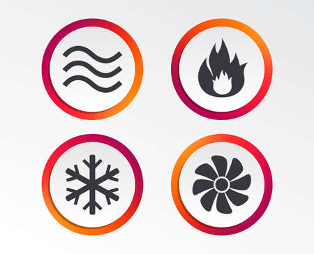 Ilustración de HVAC icons. Heating, ventilating and air conditioning symbols. Water supply. Climate control technology signs. Infographic design buttons. Circle templates. Vector - Imagen libre de derechos