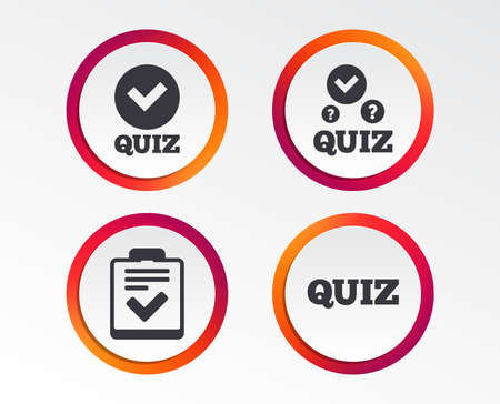Illustration pour Quiz icons. Checklist with check mark symbol. Survey poll or questionnaire feedback form sign. Infographic design buttons. Circle templates. Vector - image libre de droit