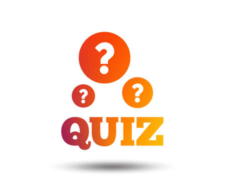 Illustration pour Quiz with question marks sign icon. Questions and answers game symbol. Blurred gradient design element. Vivid graphic flat icon. Vector - image libre de droit