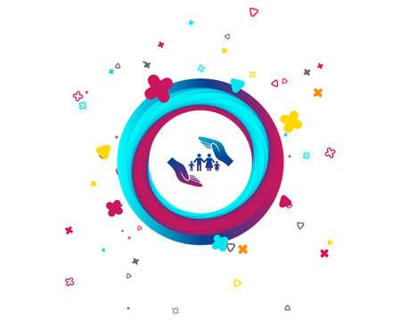 Ilustración de Family life insurance sign icon. Hands protect human group symbol. Health insurance. Colorful button with icon. Geometric elements. Vector - Imagen libre de derechos