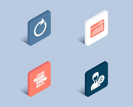 Illustration pour Set of Website statistics, Synchronize and Cashback card icons. Person idea sign. Data analysis, Refresh or update, Money payment. Lamp energy.  3d isometric buttons. Flat design concept. Vector - image libre de droit