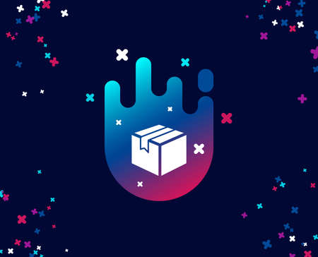 Illustration pour Shipping box simple icon. Logistics delivery sign. Parcels tracking symbol. Cool banner with icon. Abstract shape with gradient. Vector - image libre de droit