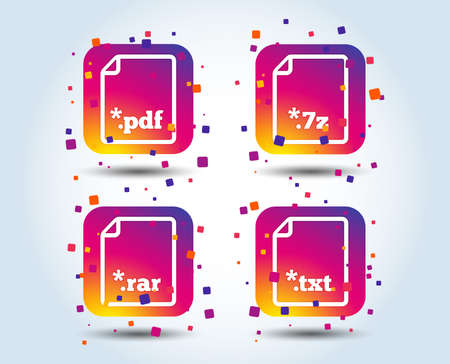 Illustration pour Download document icons. File extensions symbols. PDF, RAR, 7z and TXT signs. Colour gradient square buttons. Flat design concept. Vector - image libre de droit