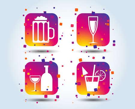 Ilustración de Alcoholic drinks icons. Champagne sparkling wine and beer symbols. Wine glass and cocktail signs. Colour gradient square buttons. Flat design concept. Vector - Imagen libre de derechos