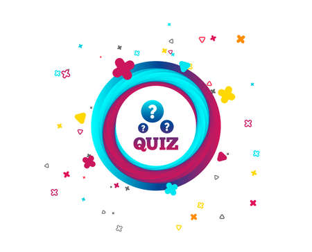 Illustration pour Quiz with question marks sign icon. Questions and answers game symbol. Colorful button with icon. Geometric elements. Vector - image libre de droit