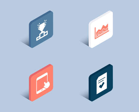 Illustration pour Set of Winner podium, Tablet pc and Trade infochart icons. Checked file sign. Competition results, Touchscreen gadget, Business analysis. Correct document.  3d isometric buttons. Flat design concept - image libre de droit
