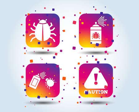 Ilustración de Bug disinfection icons. Caution attention symbol. Insect fumigation spray sign. Colour gradient square buttons. Flat design concept. Vector - Imagen libre de derechos
