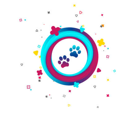 Ilustración de Paw sign icon. Dog pets steps symbol. Colorful button with icon. Geometric elements. Vector - Imagen libre de derechos