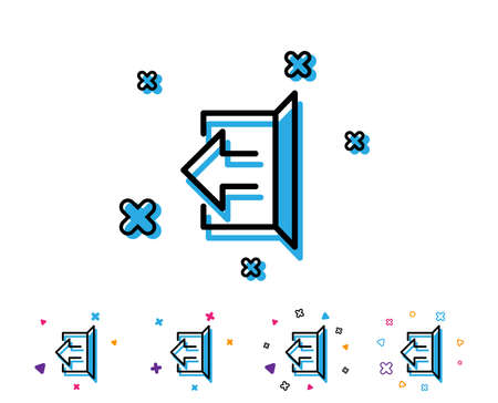 Illustration for Logout arrow line icon. Sign out symbol. Navigation pointer. Line icon with geometric elements. Bright colourful design. Vector - Royalty Free Image