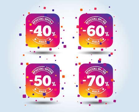 Ilustración de Sale discount icons. Special offer stamp price signs. 40, 50, 60 and 70 percent off reduction symbols. Colour gradient square buttons. Flat design concept. Vector - Imagen libre de derechos