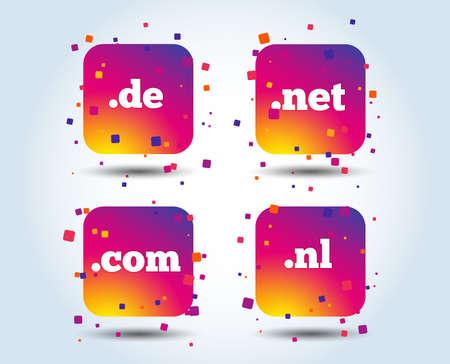 Illustration pour Top-level internet domain icons. De, Com, Net and Nl symbols. Unique national DNS names. Colour gradient square buttons. Flat design concept. Vector - image libre de droit