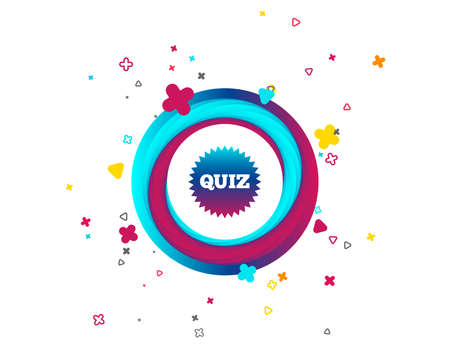 Illustration pour Quiz star sign icon. Questions and answers game symbol. Colorful button with icon. Geometric elements. Vector - image libre de droit