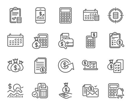 Illustration pour Accounting line icons. Set of Calculation, Check investment and Report linear icons. Calendar, Banking account and Finance documents symbols. Bill, Calculate income and Wealth auditing signs. Vector - image libre de droit