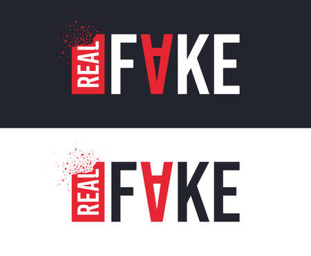 Illustration for Real and Fake slogan for T-shirt printing design. Tee graphic design. Counterfeit concept. Tee-shirt print slogan with explosion of particles. Textile graphic. Fake replica sign. Various kinds. Vector - Royalty Free Image