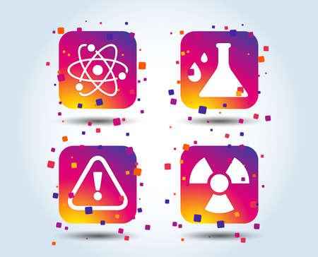 Ilustración de Attention and radiation icons. Chemistry flask sign. Atom symbol. Colour gradient square buttons. Flat design concept. Vector - Imagen libre de derechos