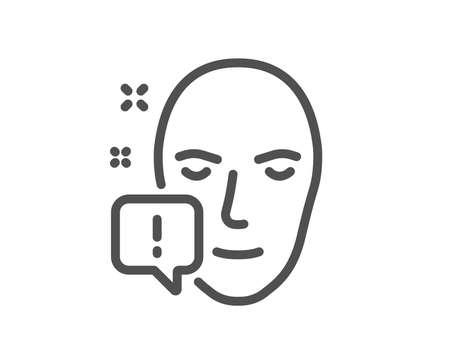 Ilustración de Face attention line icon. Exclamation mark sign. Facial identification info symbol. Quality design element. Classic style. Editable stroke. Vector - Imagen libre de derechos