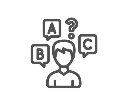 Illustration pour Quiz test line icon. Select answer sign. Business interview symbol. Quality design element. Classic style. Editable stroke. Vector - image libre de droit