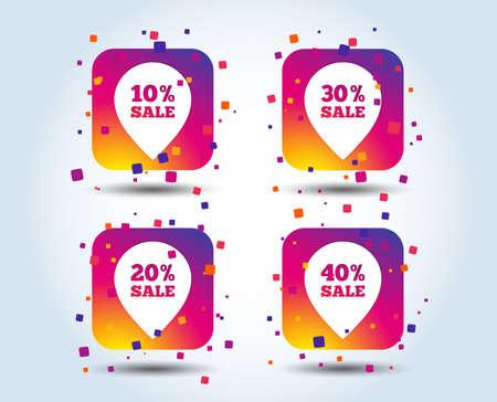 Illustration pour Sale pointer tag icons. Discount special offer symbols. 10%, 20%, 30% and 40% percent sale signs. Colour gradient square buttons. Flat design concept. Vector - image libre de droit