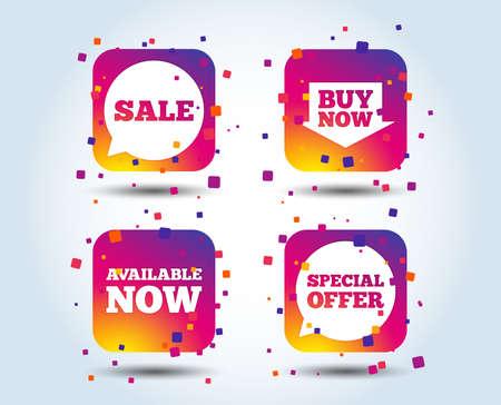 Illustration pour Sale icons. Special offer speech bubbles symbols. Buy now arrow shopping signs. Available now. Colour gradient square buttons. Flat design concept. Vector - image libre de droit