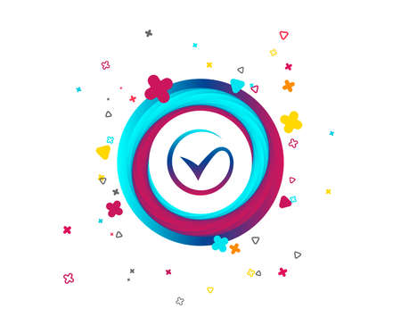 Illustration pour Tick sign icon. Check mark symbol. Colorful button with icon. Geometric elements. Vector - image libre de droit
