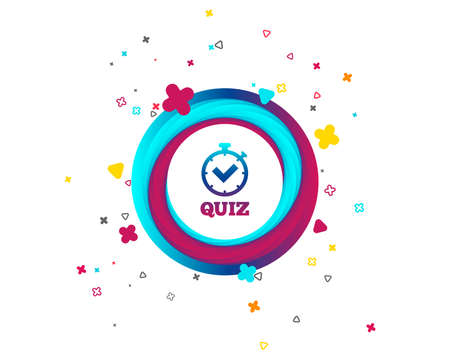 Illustration pour Quiz timer sign icon. Questions and answers game symbol. Colorful button with icon. Geometric elements. Vector - image libre de droit