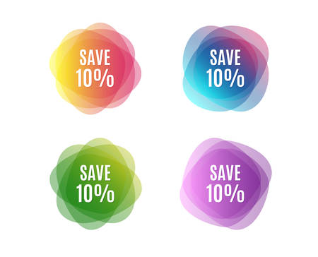 Ilustración de Save 10% off. Sale Discount offer price sign. Special offer symbol. Colorful round banners. Overlay colors shapes. Abstract design save discount concept. Vector - Imagen libre de derechos