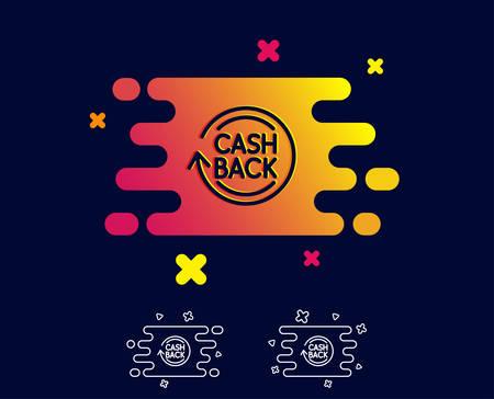 Ilustración de Cashback service line icon. Money transfer sign. Rotation arrow symbol. Gradient banner with line icon. Abstract shape. Vector - Imagen libre de derechos