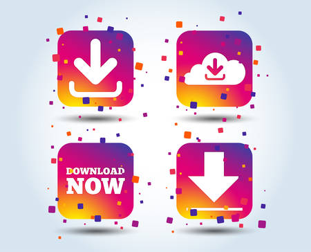 Illustration pour Download now icon. Upload from cloud symbols. Receive data from a remote storage signs. Colour gradient square buttons. Flat design concept. Vector - image libre de droit