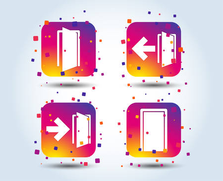 Illustration for Doors icons. Emergency exit with arrow symbols. Fire exit signs. Colour gradient square buttons. Flat design concept. Vector - Royalty Free Image