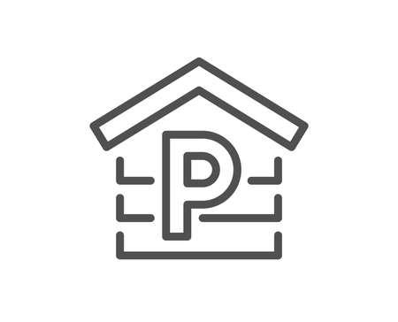 Ilustración de Parking line icon. Car park sign. Transport place garage symbol. Quality design element. Classic style. Editable stroke. Vector - Imagen libre de derechos